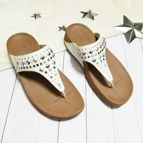 fd1d8bfb5769 Fitflop Shoes - Fitflop white studded flip flops sandals thongs 8
